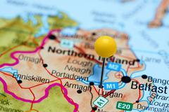 Lurgan pinned on a map of Northern Ireland - stock photo