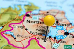 Armagh pinned on a map of Northern Ireland - stock photo