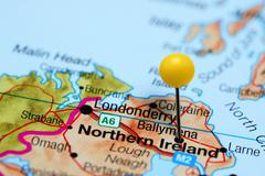 Ballymena pinned on a map of Northern Ireland - stock photo