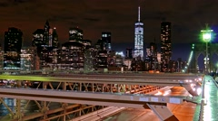 Illuminated Skyscrapers Brooklyn Bridge One World Trade Center Modern Night Stock Footage