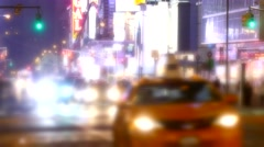 New York City Street Traffic Illuminated Manhattan Night USA Footage Crowded Stock Footage