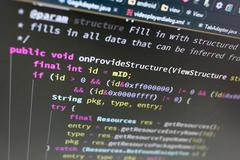 Coding on screen - stock photo