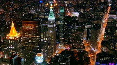 Aerial Drone Footage Illuminated Skyscrapers New York City Modern Night Famous Arkistovideo