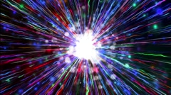 Abstract colorful laser light fireworks shooting in center exploding background Stock Footage