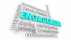Engagement Participation Interaction 3d Word Collage - stock footage