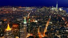 Drone Footage Skyscrapers Illuminated Manhattan New York City Aerial Modern Arkistovideo