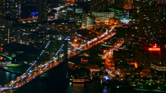 Drone Footage Illuminated Brooklyn Bridge City Manhattan Connection Travel USA Stock Footage