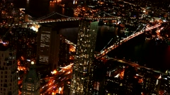 Aerial Drone Footage Illuminated Brooklyn Bridge Transportation Travel USA Stock Footage