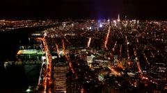 Aerial Drone Footage Illuminated Manhattan Crowded New York City Modern Night Arkistovideo