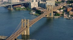 Footage Brooklyn Bridge New York City Aerial Drone Manhattan Connection Travel Stock Footage