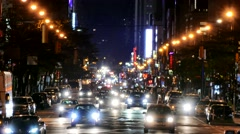Illuminated City Street New York Manhattan Night Road USA Footage Busy Traffic Stock Footage