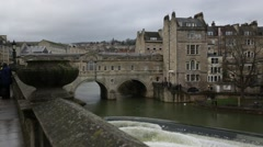 Poultney Bridge: the weir side, Bath, England, Europe Stock Footage