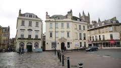 Pan across the pubs of central Bath, England, Europe Stock Footage