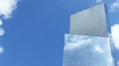 Low Angle Skyscraper Reflection Clouds Glass New York City Footage Corporate Stock Footage