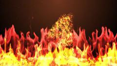 Countdown animation from 5 to 0 with cracking stone number fire burning eruption Stock Footage