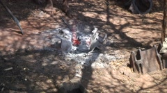 Smith in remote village heats tool in a traditional forge un the ground Stock Footage