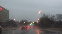 Driving in the city on a rainy afternoon - stock footage