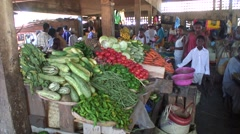 Vegetable in market hall well sorted Stock Footage