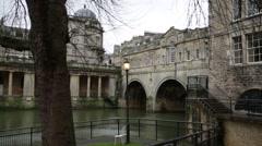 Roman city of Bath, Pulteney Bridge, England, Europe Stock Footage