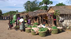 Women selling mangos on market during mango harvest season in village Stock Footage