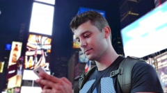 Young Man Text Messaging Travel New York City Times Square Footage Manhattan Stock Footage