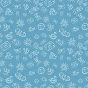 Many bacterias and viruses under microscope, seamless pattern - stock illustration