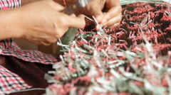 Traditional handmade textile weaving Stock Footage