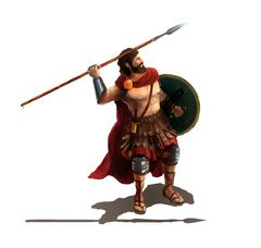 Spartan with spear, character on white Stock Illustration