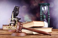 Law theme, mallet of judge, wooden gavel, books, justice scale Kuvituskuvat