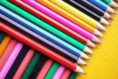 abstract color patterns, color pencils - stock photo