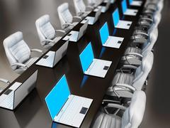 Laptop computers standing on boardroom table Stock Illustration