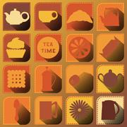 Set of 16 icons. Tea time. Brown tones Stock Illustration