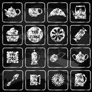 Set of 16 icons. Tea time. Chalk board. Stock Illustration
