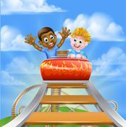 Roller Coaster Theme Park Stock Illustration