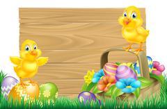 Easter Chicks and Eggs Basket Sign - stock illustration