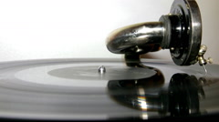 Vinyl record on an old gramophone Stock Footage