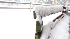 Montana snow covered fence - stock footage