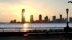 Sunset New Jersey 30 Hudson Street Skyscrapers Footage Nyc Manhattan Modern Stock Footage