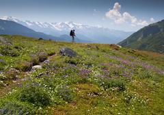traveler with chopsticks at Caucasus mountains - stock photo
