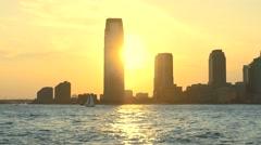 Sunset 30 Hudson Street New Jersey Skyscrapers Footage Nyc Manhattan Modern Stock Footage