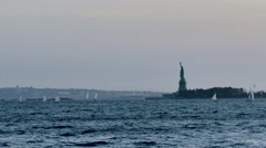 Statue Of Liberty Island New York Harbor City Hudson River USA Footage Manhattan Stock Footage