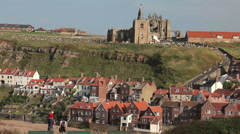 Stock Video Footage of ST. MARY'S CHURCH & ABBEY WHITBY YORKSHIRE ENGLAND