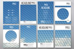 Business templates for brochure, flyer or booklet. Blue cloudy sky. Collection Stock Illustration