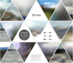 Abstract multicolored background of blurred nature landscapes, geometric vector - stock illustration