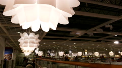 Close up lighting equipment inside Ikea store food court cafeteria - stock footage