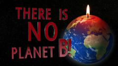 Global warming earth candle no planet B Stock Footage