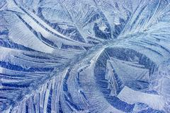 Hoar frost pattern on car Stock Photos
