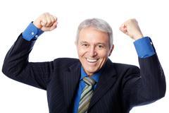 delighted senior businessman, isolated on white - stock photo