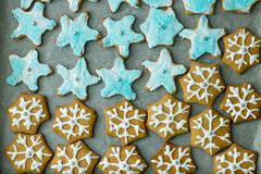 Delicious Gingerbread Cookies, homemade, different forms . Stock Photos