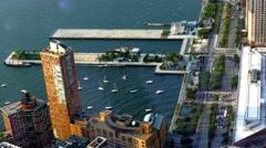 Drone Footage New York City Water Sea Skyscraper Boat Manhattan Timelapse USA Stock Footage